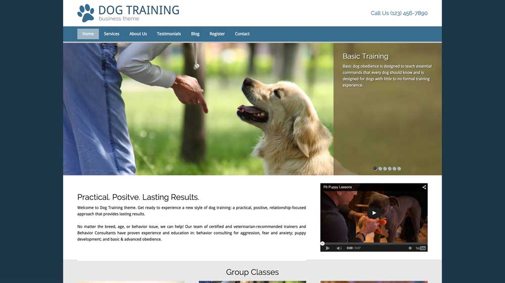desktop screenshot Dog Training WordPress Theme