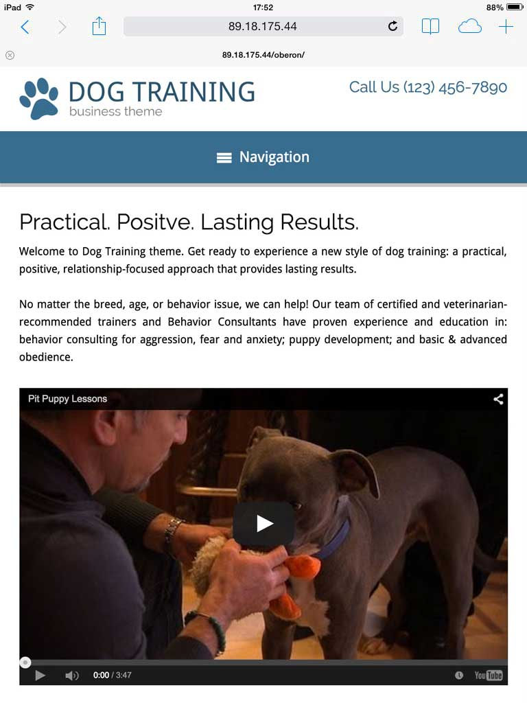 tablet screenshot Dog Training WordPress Theme