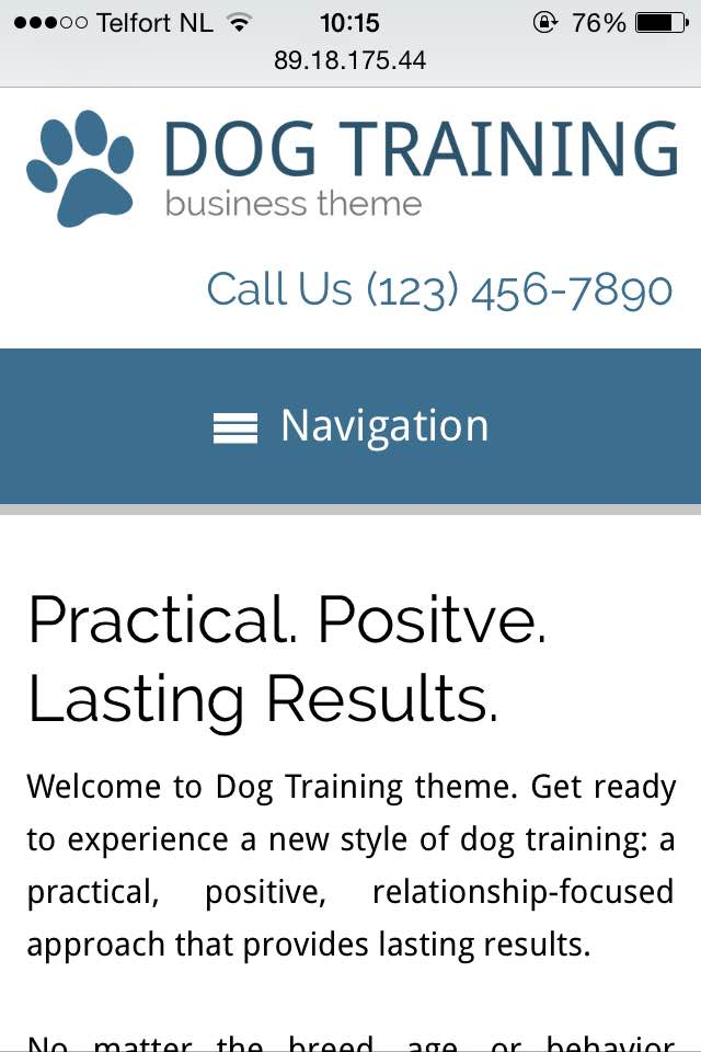 mobile phone screenshot Dog Training WordPress Theme