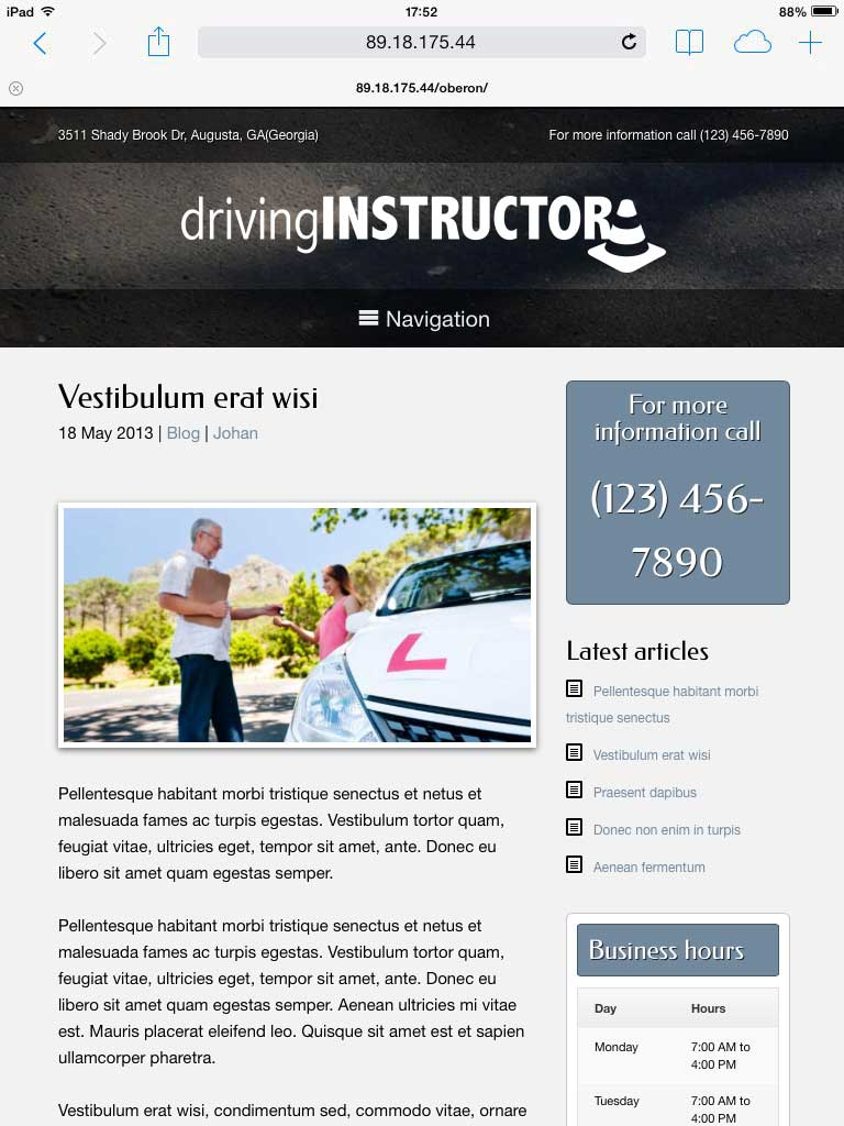 tablet screenshot Driving Instructor WordPress Theme