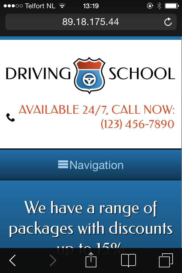 mobile phone screenshot Driving School WordPress Theme