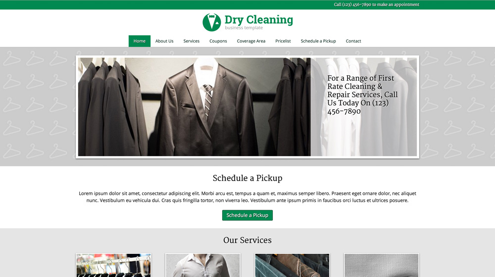 desktop screenshot Dry Cleaning WordPress Theme
