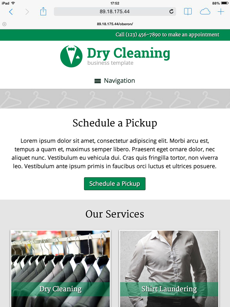 tablet screenshot Dry Cleaning WordPress Theme