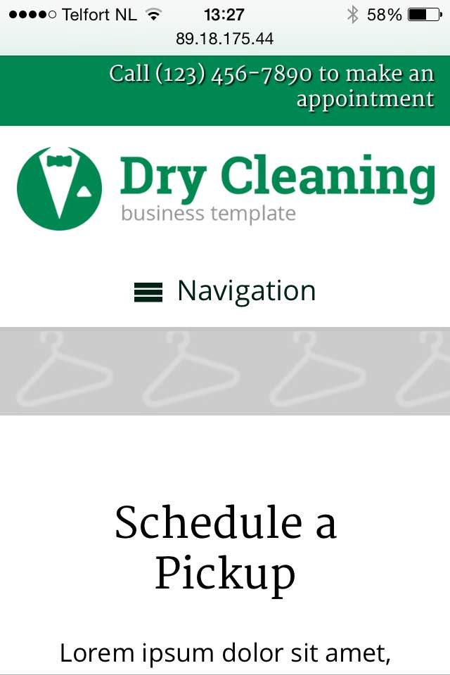 mobile phone screenshot Dry Cleaning WordPress Theme