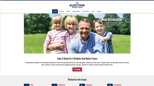 desktop screenshot Election WordPress Theme