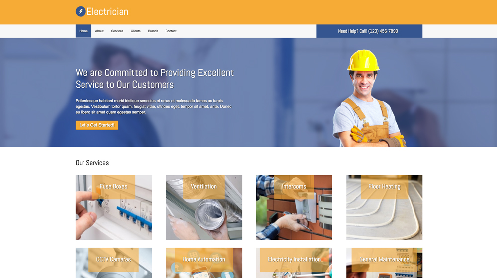 desktop screenshot Electrician WordPress Theme