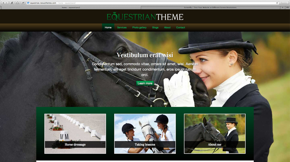 desktop screenshot Equestrian WordPress Theme
