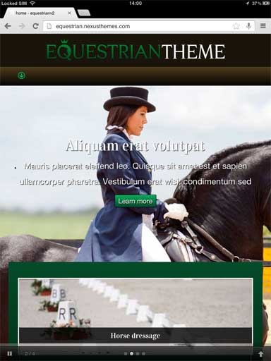 tablet screenshot Equestrian WordPress Theme