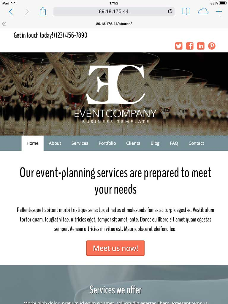 tablet screenshot Event Company WordPress Theme