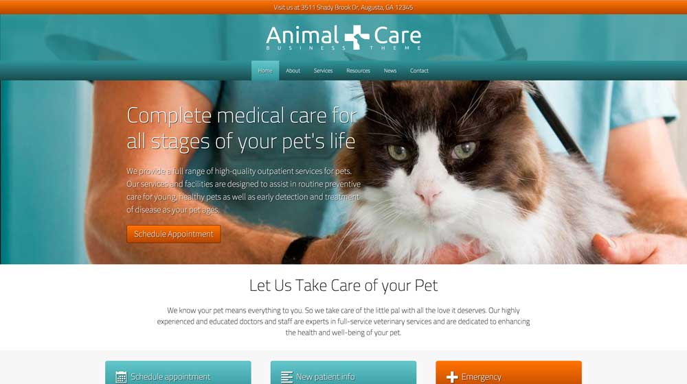 desktop screenshot Animal Care WordPress Theme