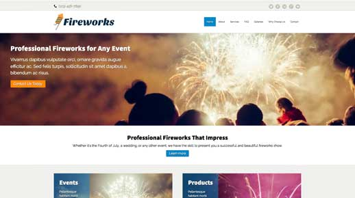 desktop screenshot Fireworks WordPress Theme