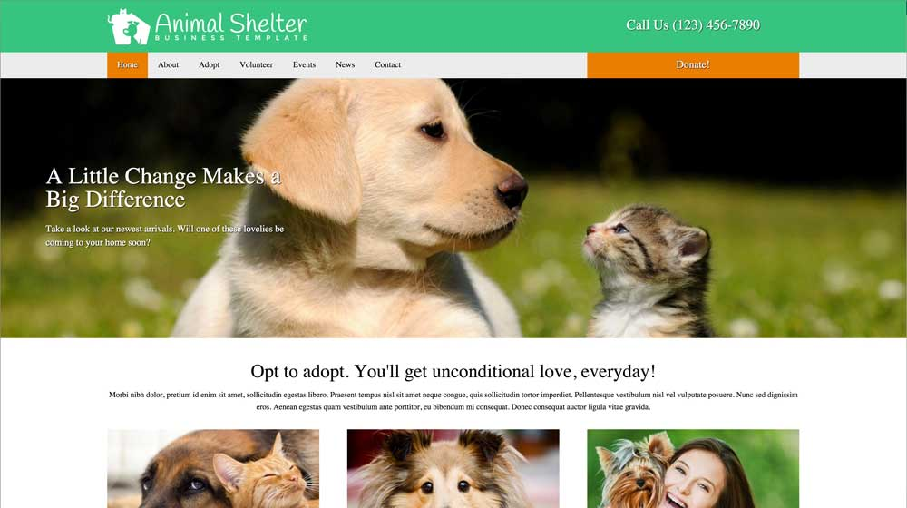 desktop screenshot Animal Shelter WordPress Theme