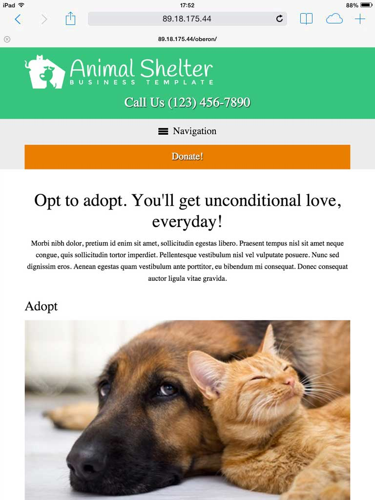 tablet screenshot Animal Shelter WordPress Theme