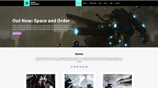 desktop screenshot Game Developer WordPress Theme