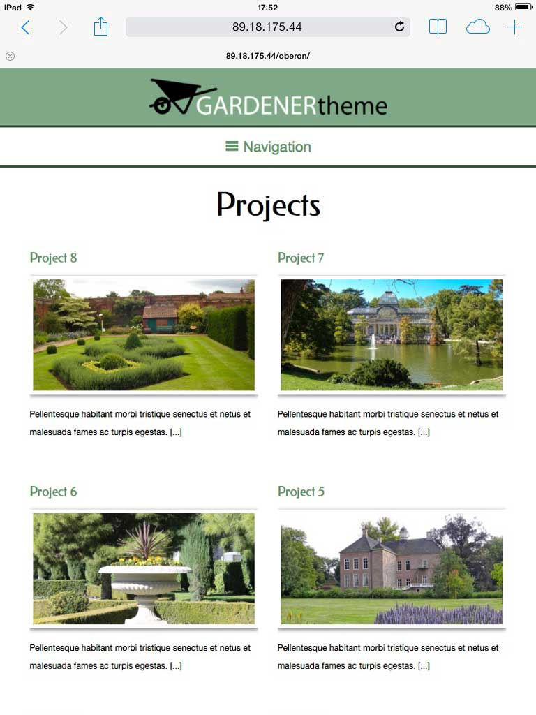 tablet screenshot Gardener WordPress Theme