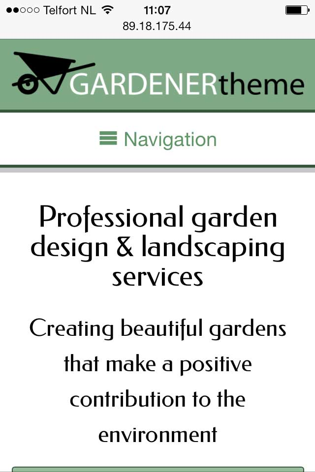 mobile phone screenshot Gardener WordPress Theme