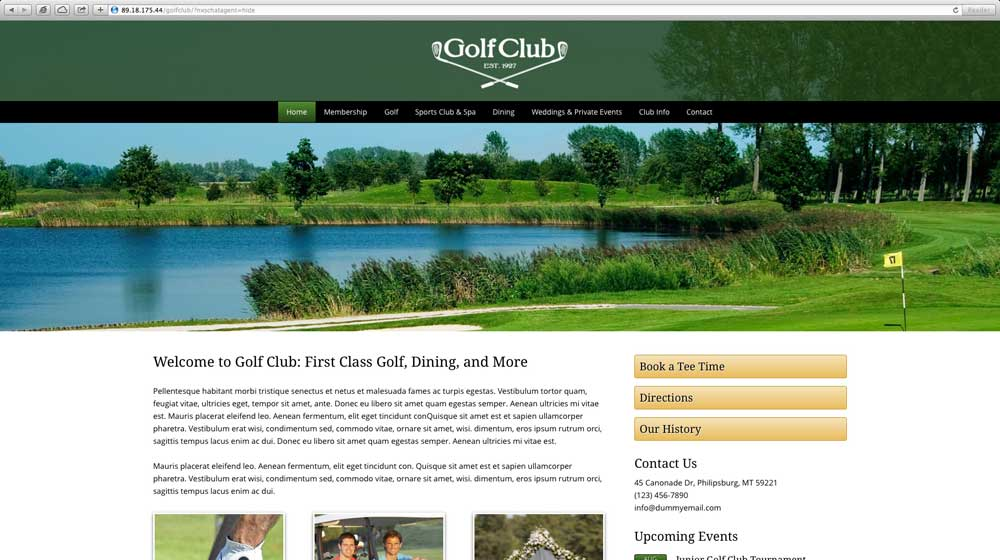 desktop screenshot Golf Club WordPress Theme