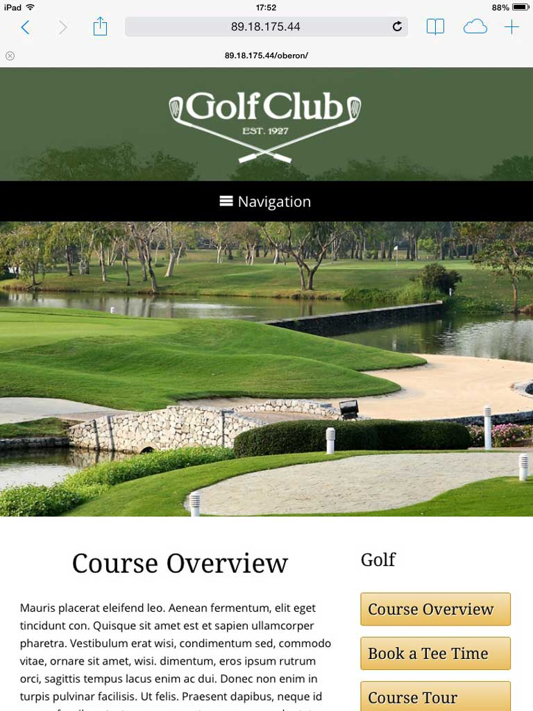 tablet screenshot Golf Club WordPress Theme