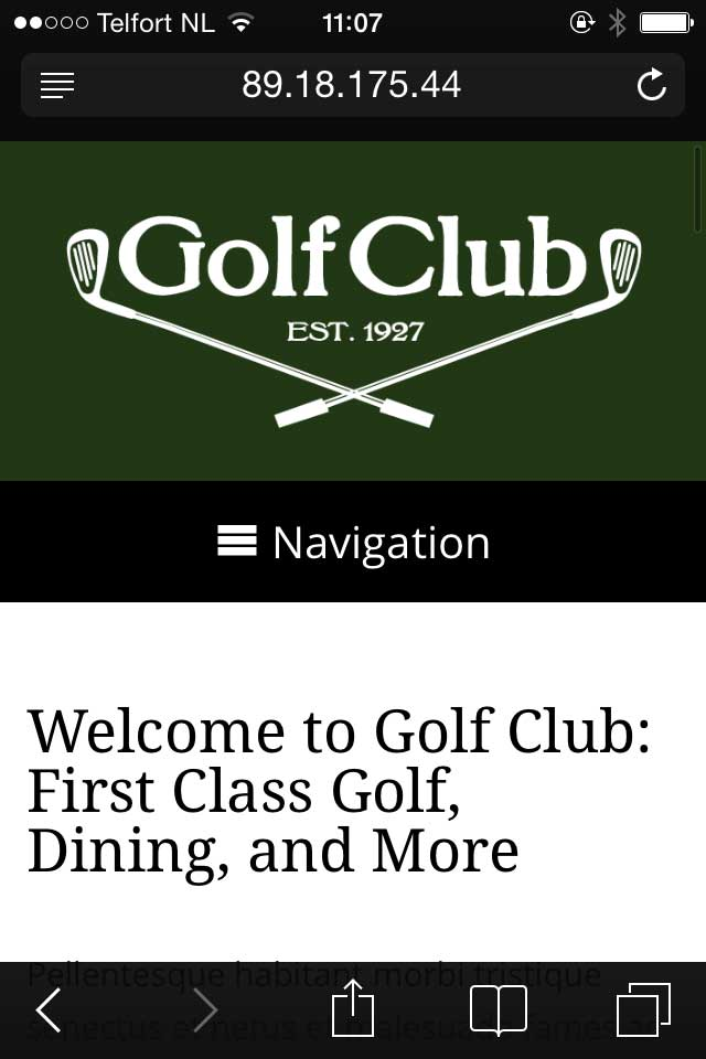mobile phone screenshot Golf Club WordPress Theme