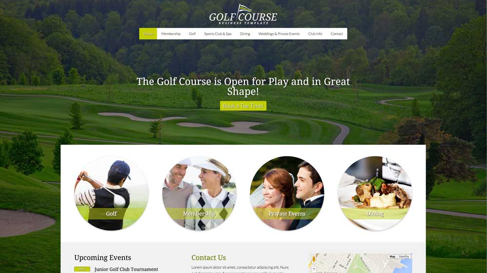 desktop screenshot Golf Course WordPress Theme