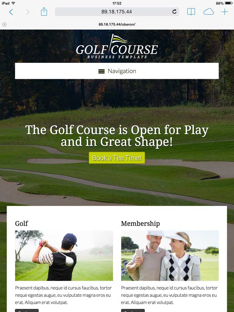 tablet screenshot Golf Course WordPress Theme