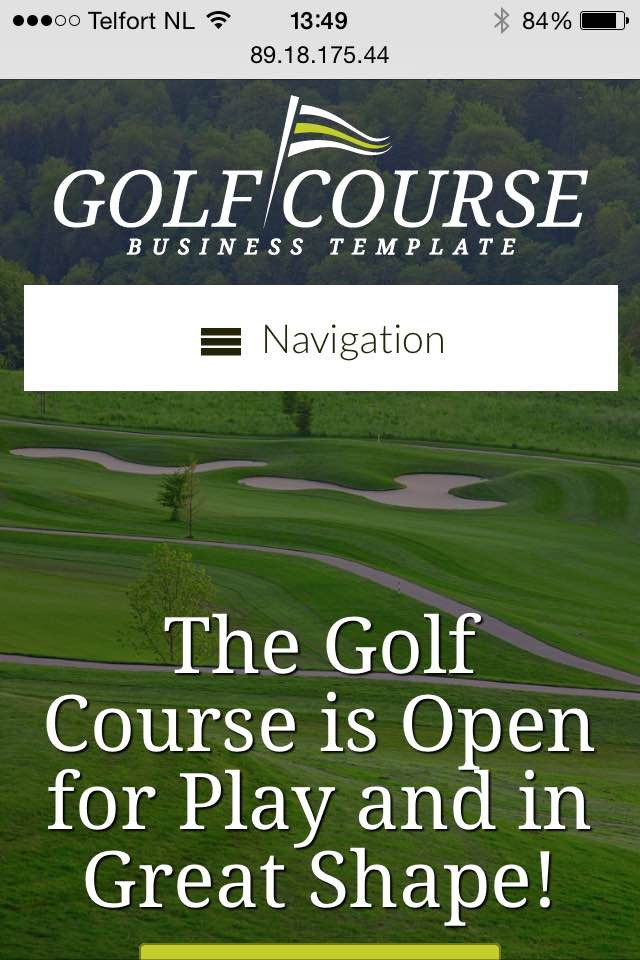 mobile phone screenshot Golf Course WordPress Theme