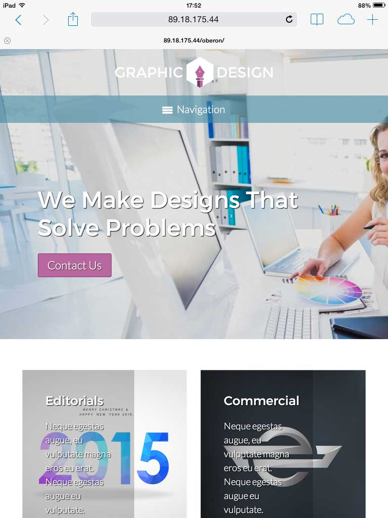 tablet screenshot Graphic Design WordPress Theme