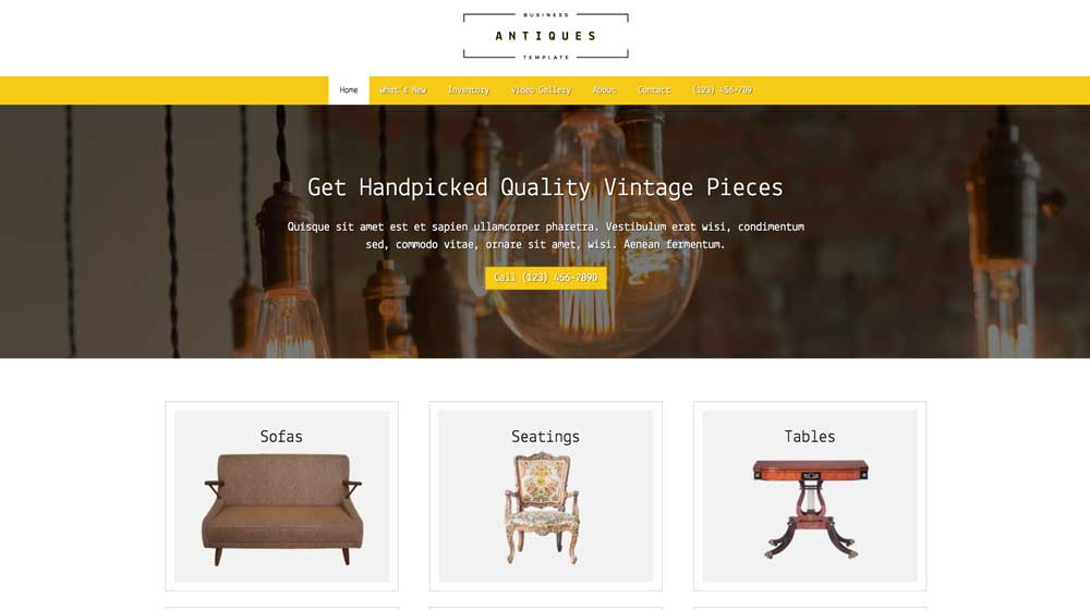 desktop screenshot Antiques WordPress Theme