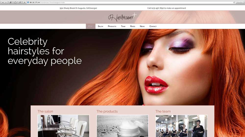 desktop screenshot Hairdresser WordPress Theme