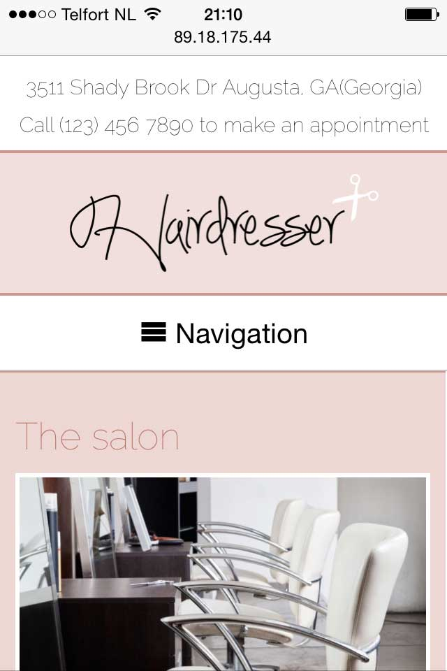 mobile phone screenshot Hairdresser WordPress Theme