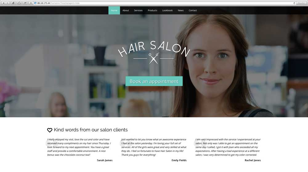 desktop screenshot Hair Salon WordPress Theme