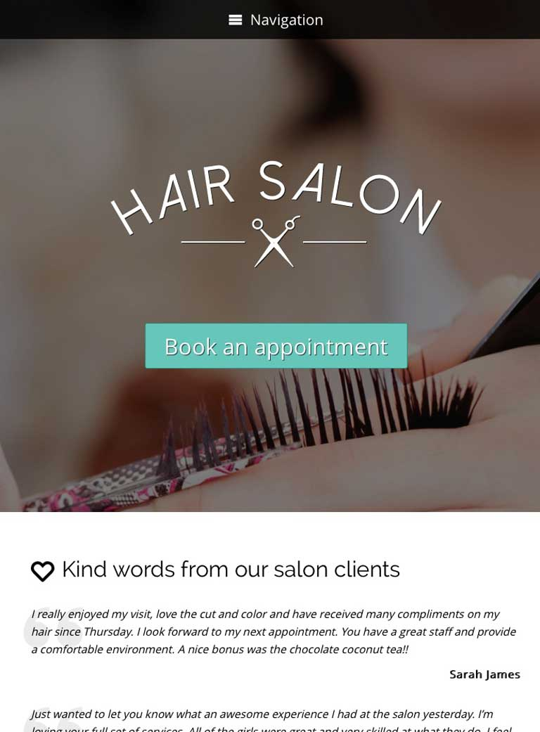 tablet screenshot Hair Salon WordPress Theme