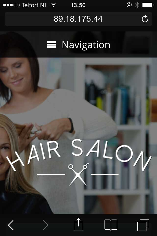 mobile phone screenshot Hair Salon WordPress Theme