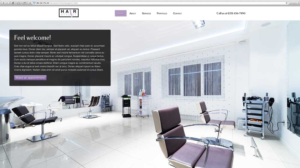 desktop screenshot Hair Stylist WordPress Theme