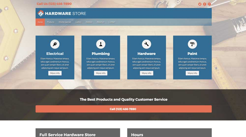 desktop screenshot Hardware Store WordPress Theme