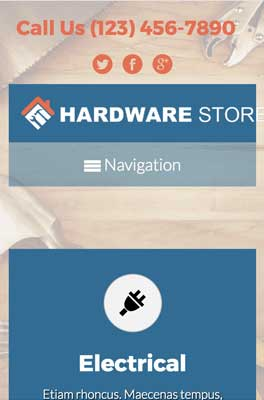 mobile phone screenshot Hardware Store WordPress Theme