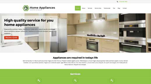 desktop screenshot Home Appliances WordPress Theme