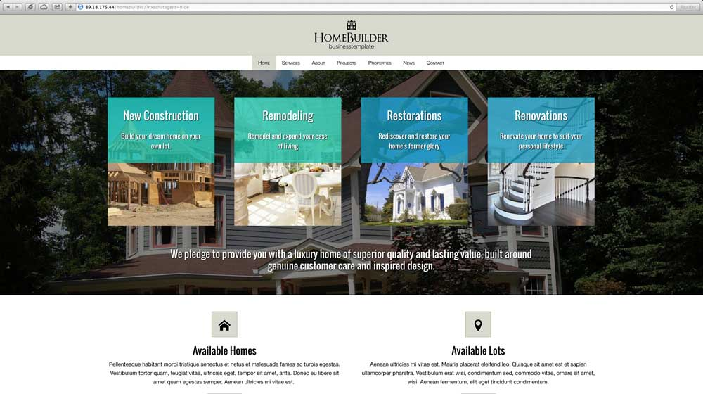 desktop screenshot Home Builder WordPress Theme