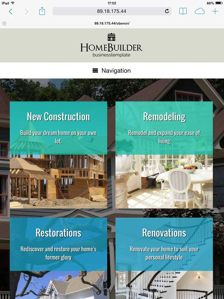tablet screenshot Home Builder WordPress Theme