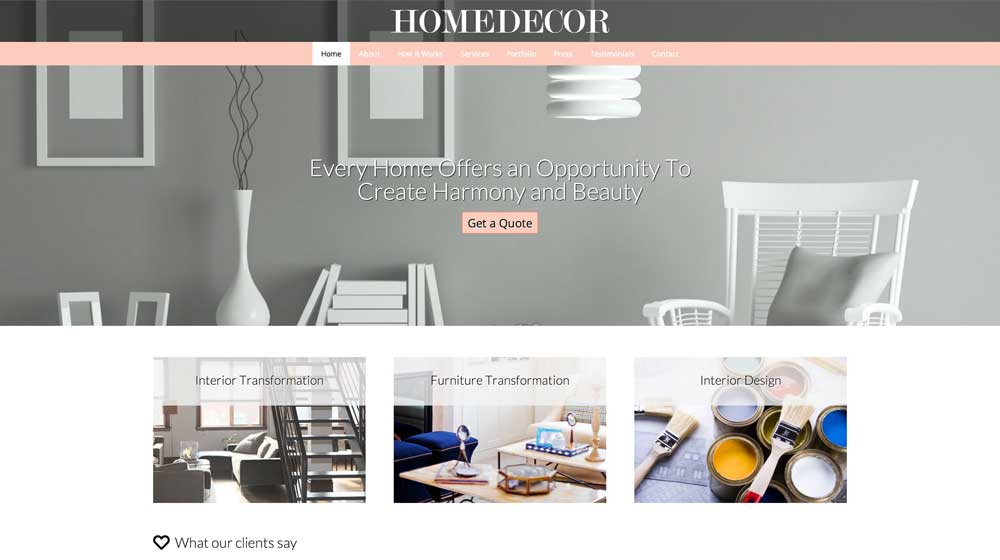 desktop screenshot Home Decor WordPress Theme