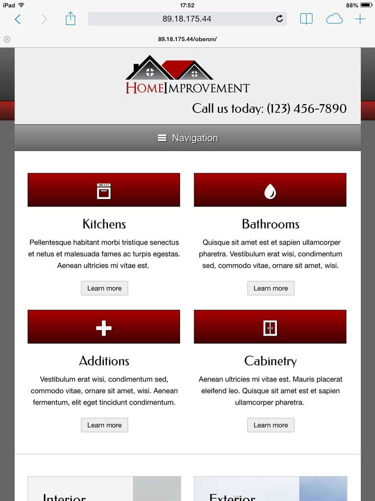 tablet screenshot Home Improvement WordPress Theme
