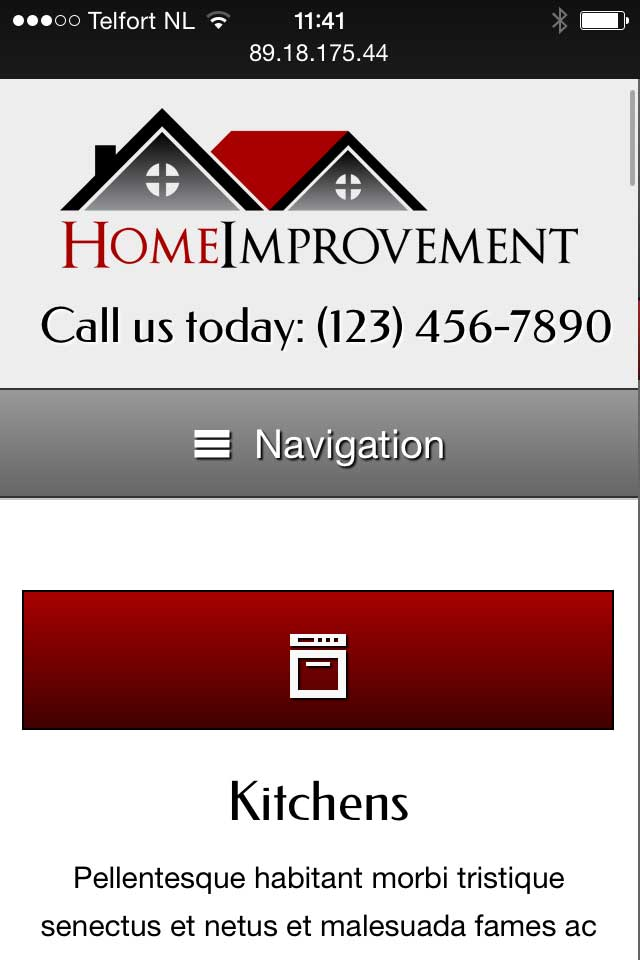 mobile phone screenshot Home Improvement WordPress Theme