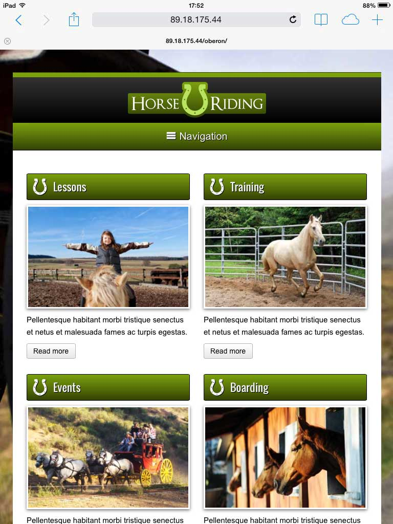 tablet screenshot Horse Riding WordPress Theme