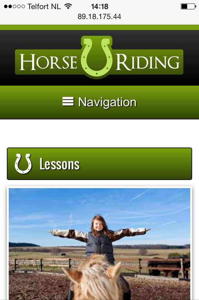 mobile phone screenshot Horse Riding WordPress Theme