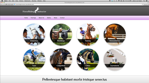 desktop screenshot Horse Club WordPress Theme