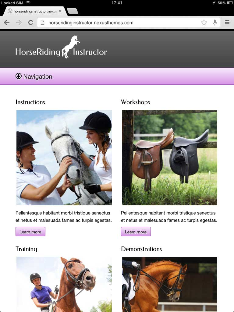 tablet screenshot Horse Club WordPress Theme
