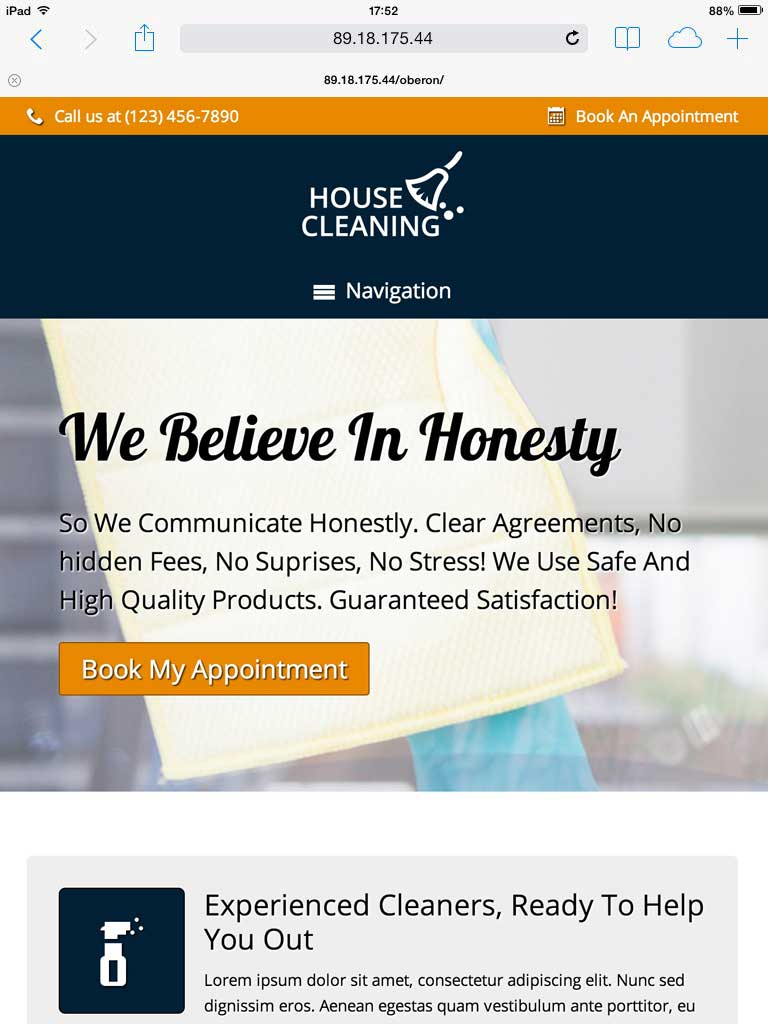 tablet screenshot House Cleaning WordPress Theme