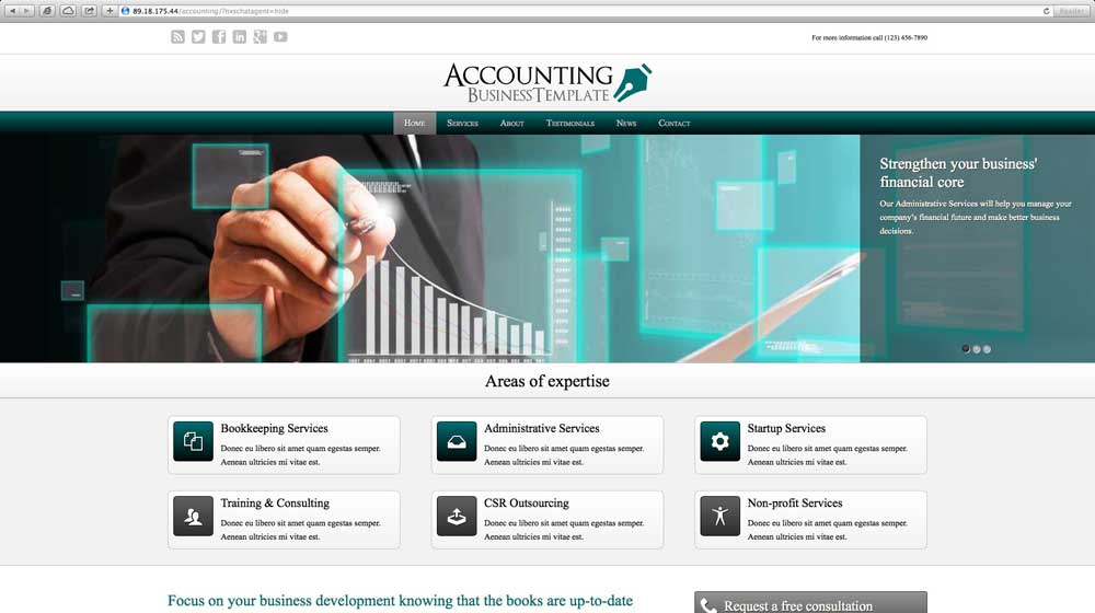 desktop screenshot Accounting WordPress Theme