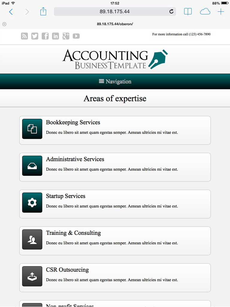tablet screenshot Accounting WordPress Theme
