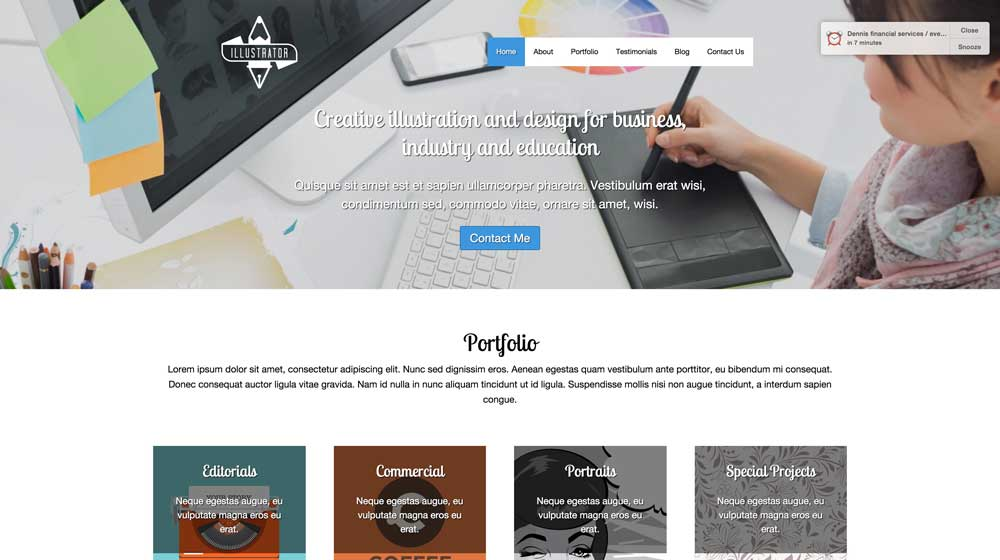 desktop screenshot Illustrator WordPress Theme